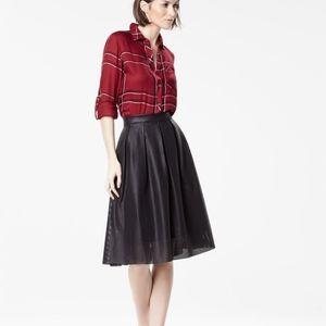 RW&CO vegan leather plaid skirt